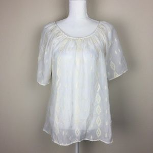 Bobeau Sheer Lace Embroidered Scoop Neck Top